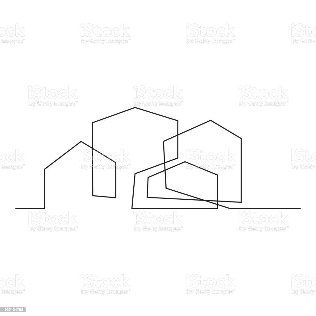 住宅の家の連続的な線の描画にはベクトル イラスト シンプルをコンセプト