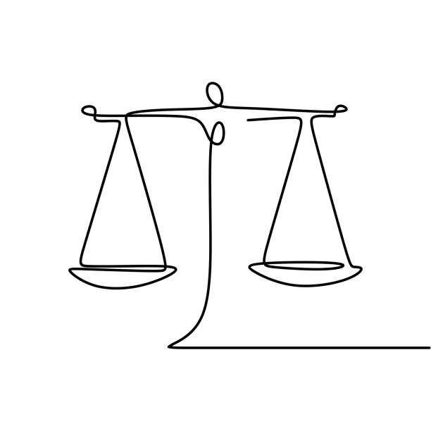 Continuous line drawing of law symbol of weight balance Continuous line drawing of law symbol of weight balance punishment stock illustrations