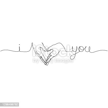 istock Continuous line drawing of lettering text - I love you, in heart sign by hands. Minimalism design. 1296496782
