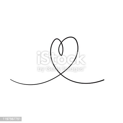 Continuous line drawing of love sign with hearts embrace minimalism design in doodle handdrawing style vector