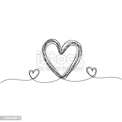 istock Continuous line drawing of lovely hearts. Minimalism design. Vector illustration. 1296496813