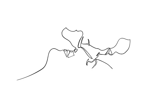 Continuous line drawing of Man and Woman are kissing love and valentine concept.