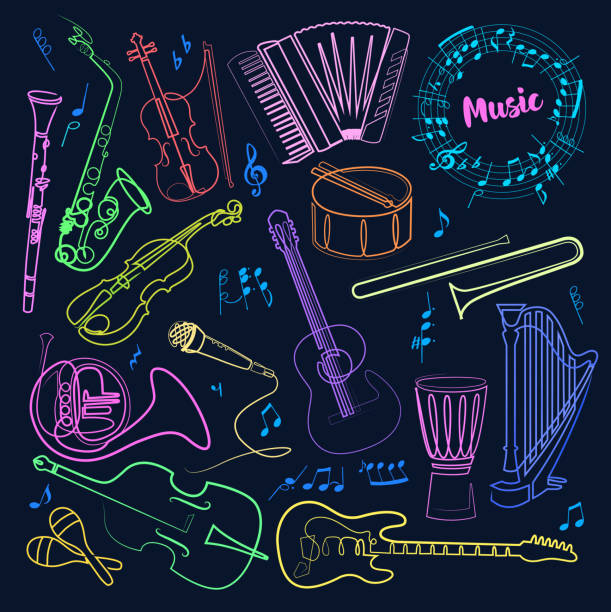 continuous line drawing of musical instruments linear vector icons set bright neon color on a dark background. orchestra equipment. isolated outline illustrations. editable stroke. - klarnet stock illustrations