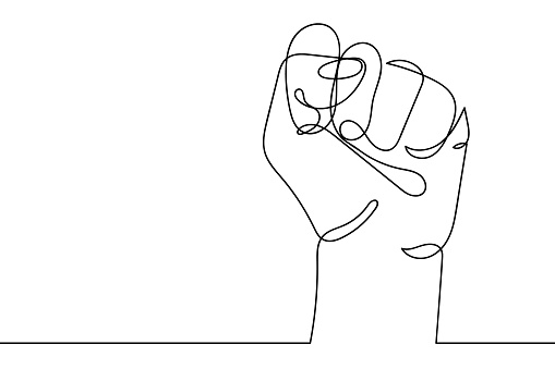 Continuous line drawing of strong fist raised up. Human arm with clenched fingers, one line drawing vector illustration. Concept of protest, revolution, freedom, equality, fight for human rights
