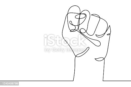 istock Continuous line drawing of strong fist raised up. Human arm with clenched fingers, one line drawing vector illustration. Concept of protest, revolution, freedom, equality, fight for human rights 1240406799