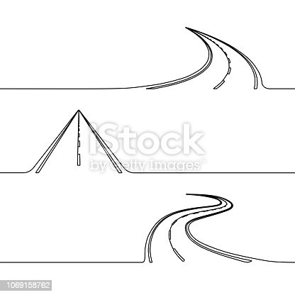 Continuous line drawing of the road, single line concept of the roadway with turns, twist or perspectives, simple highway design element or icon
