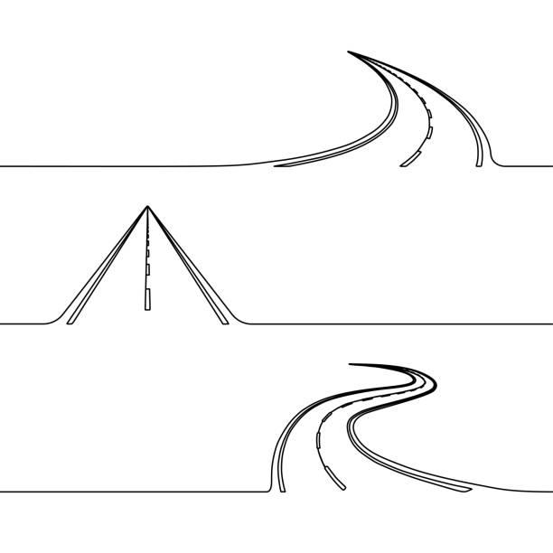kontinuierlichen strichzeichnung der straße - landstraße stock-grafiken, -clipart, -cartoons und -symbole