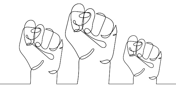 Continuous line drawing of three strong fists raised up in protest. One line drawing vector illustration of group of human arms. Concept of revolution, equality, fight for human rights. Stop racism