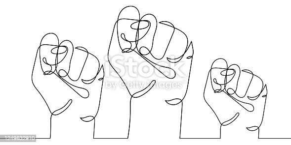 istock Continuous line drawing of three strong fists raised up in protest. One line drawing vector illustration of group of human arms. Concept of revolution, equality, fight for human rights. Stop racism 1249632910