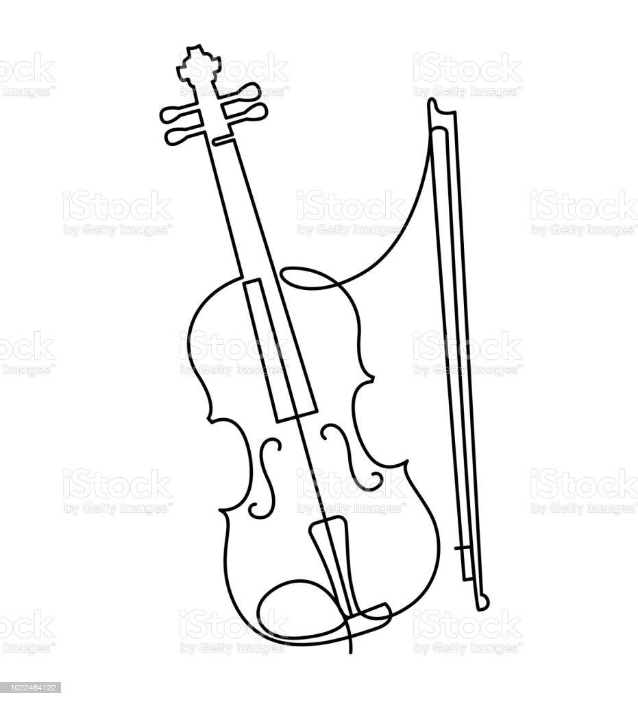 ilustración de continua línea de dibujo del vector violin tres