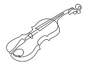 istock continuous line drawing of three-quarter violin vector. Musical instrument 1022465016