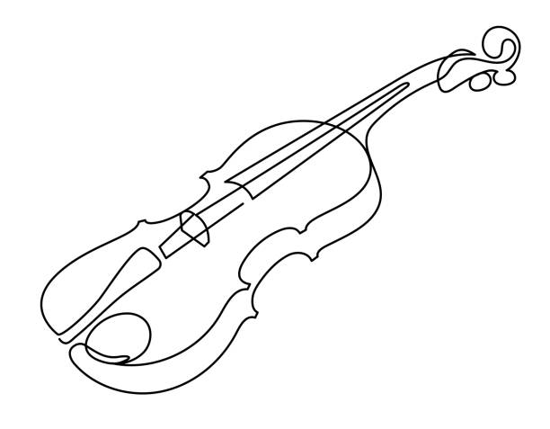 continuous line drawing of three-quarter violin vector. musical instrument - skrzypce stock illustrations