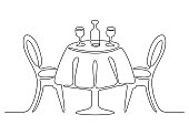 istock Continuous line drawing. Table with chairs. 1276752875