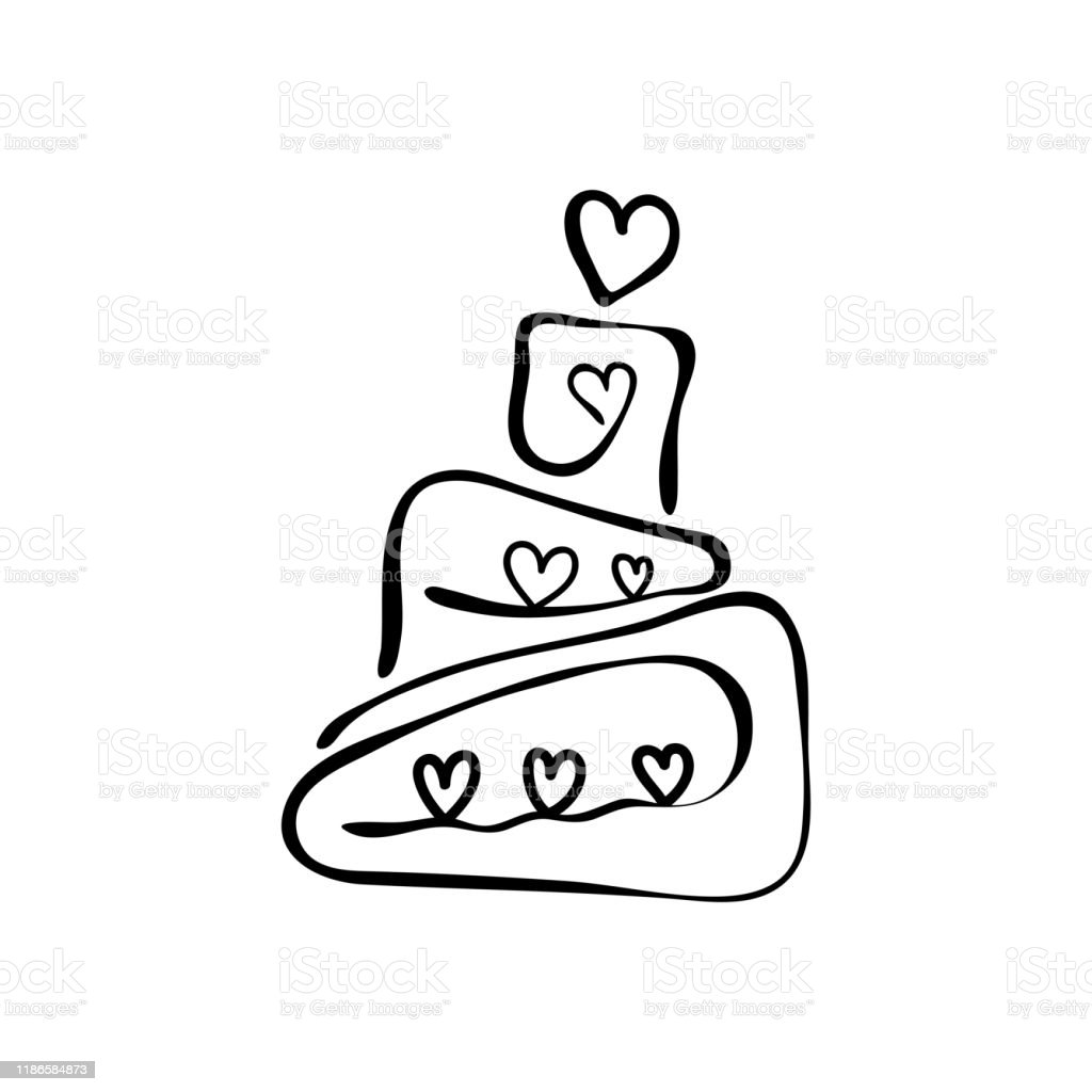 Remarkable Continuous Line Drawing Tiered Birthday Cake Symbol Of Celebration Personalised Birthday Cards Vishlily Jamesorg