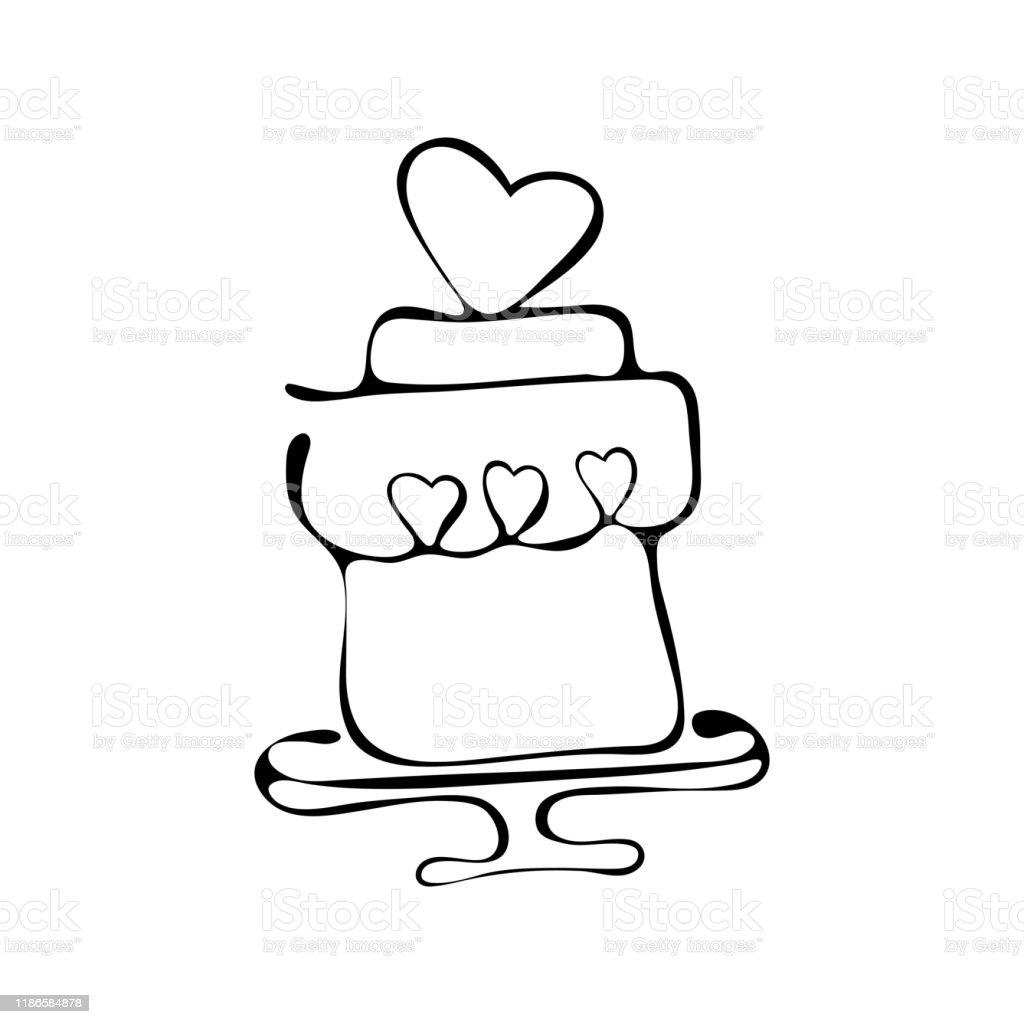 Enjoyable Continuous Line Drawing Tiered Birthday Cake Symbol Of Celebration Personalised Birthday Cards Vishlily Jamesorg