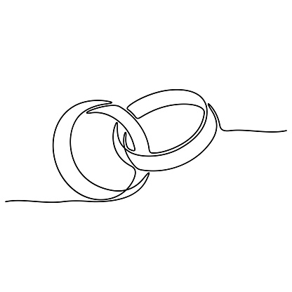 Continuous line drawing. Wedding rings.