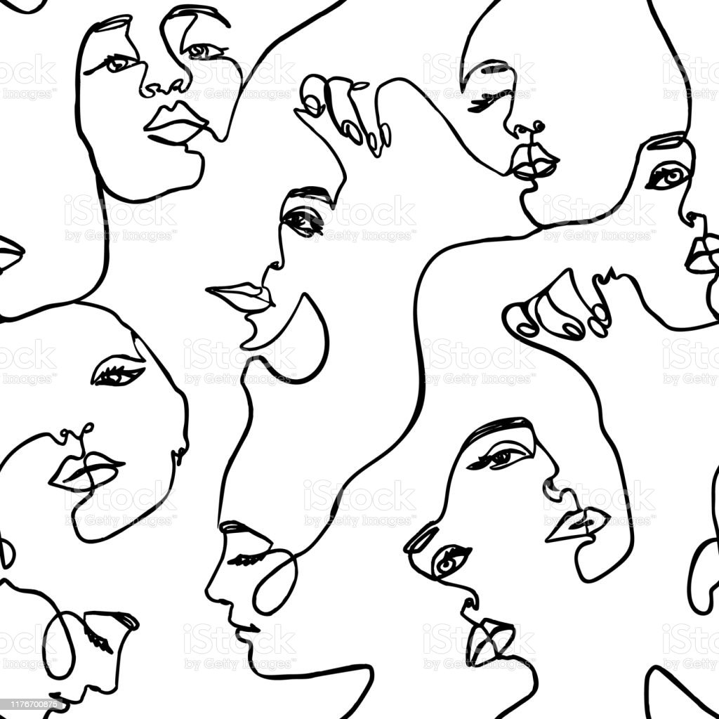Continuous line face women seamless pattern - Vector Endless...