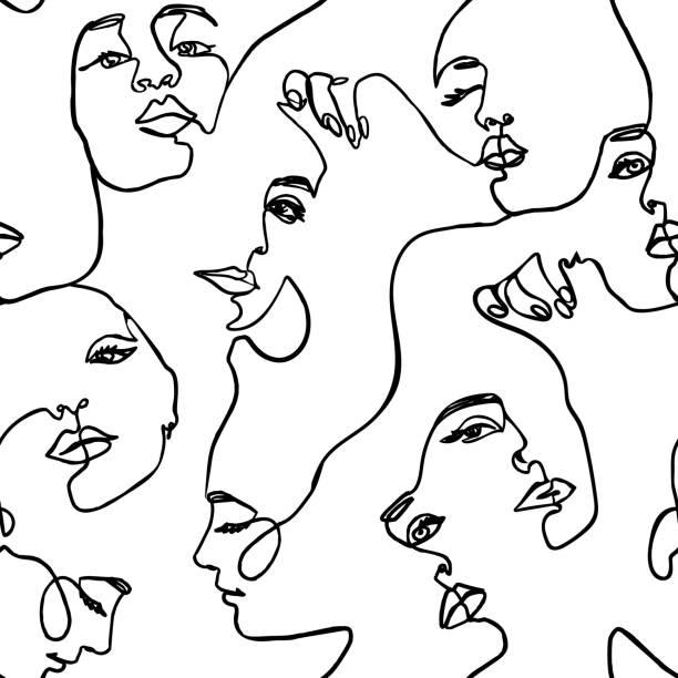 illustrations, cliparts, dessins animés et icônes de la ligne continue face aux femmes modèle sans couture - vector endless background fashion female portrait une ligne - art