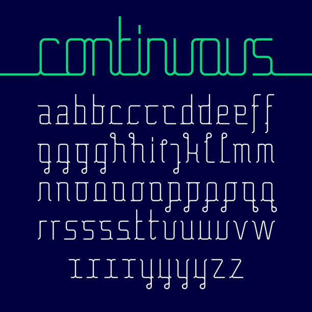 Continuous line font vector art illustration