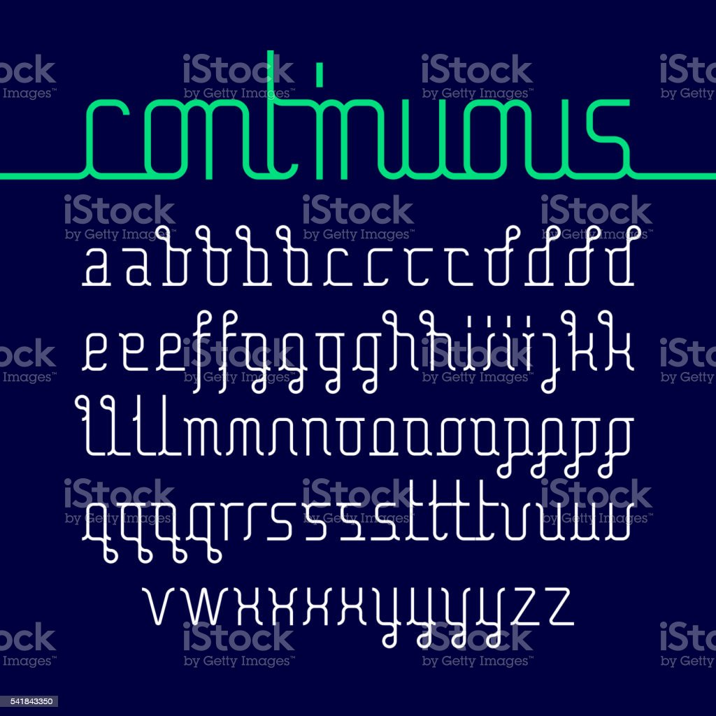 Continuous line font vector art illustration