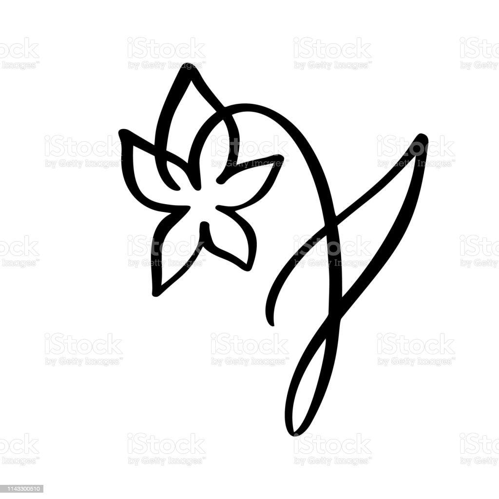 Ligne Continue à La Main Dessin Calligraphique Vecteur Fleur
