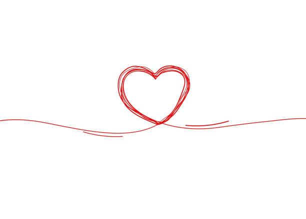 Continuous line heart border on white background for valentines, women, mother day greeting invitation graphic design vector art illustration