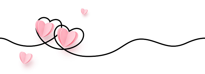 Continuous line heart shape border with realistic paper heart on white background for valentines, women, mother day greeting invitation graphic design