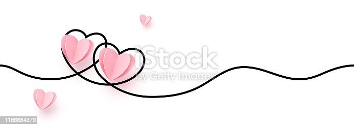 Continuous line heart shape border with realistic paper heart on white background for valentines, women, mother day greeting invitation graphic design.
