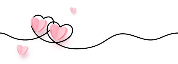 illustrations, cliparts, dessins animés et icônes de bordure continue de forme de coeur de ligne avec le coeur réaliste de papier sur le fond blanc pour des valentines, des femmes, la conception graphique d'invitation de salutation de jour de mère - saint valentin