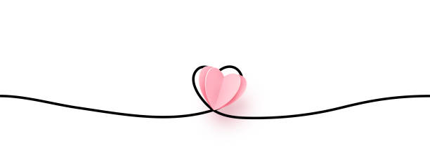 Continuous line heart shape border with realistic paper heart on white background for valentines, women, mother day greeting invitation graphic design vector art illustration