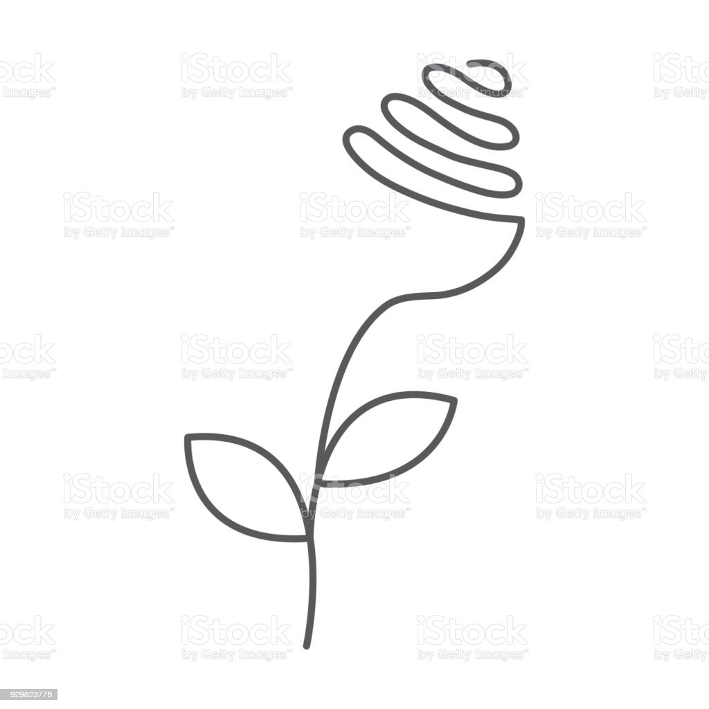 Continuous Line Rose With Leaves Abstract Modern Decoration Logo Vector Illustration One