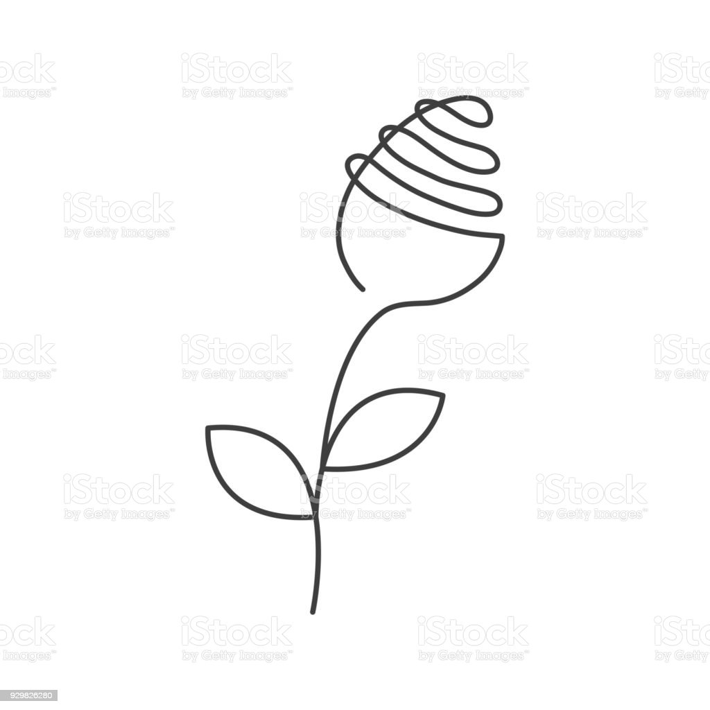 Continuous Line Rose With Leaves Abstract Modern Decoration Logo