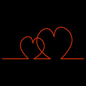 Continuous Line Two Hearts Shape for Valentine's Day. Vector illustration of a hearts isolated on black background.