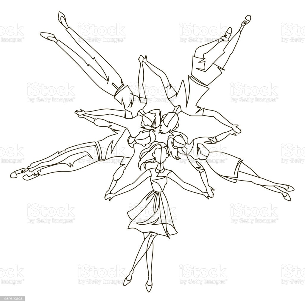 Continuous line young people laying in circle one line art friends togetherness friendship concept vector illustration illustration
