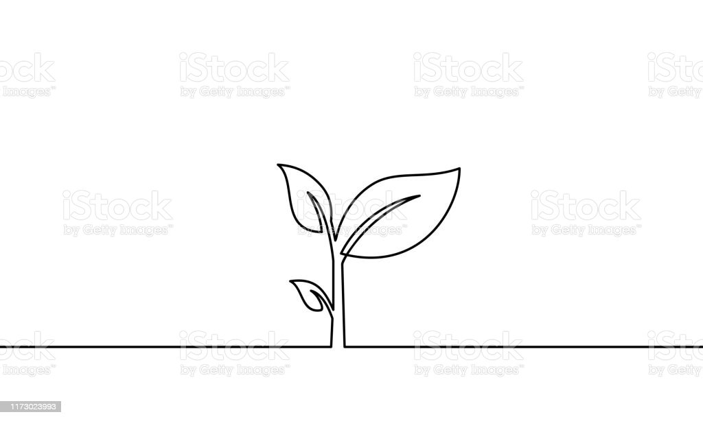 continuous one line art. can be for plants, agriculture, seeds. Black...
