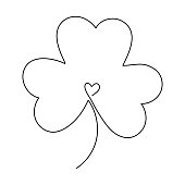 Continuous one line art drawing of clover leaf