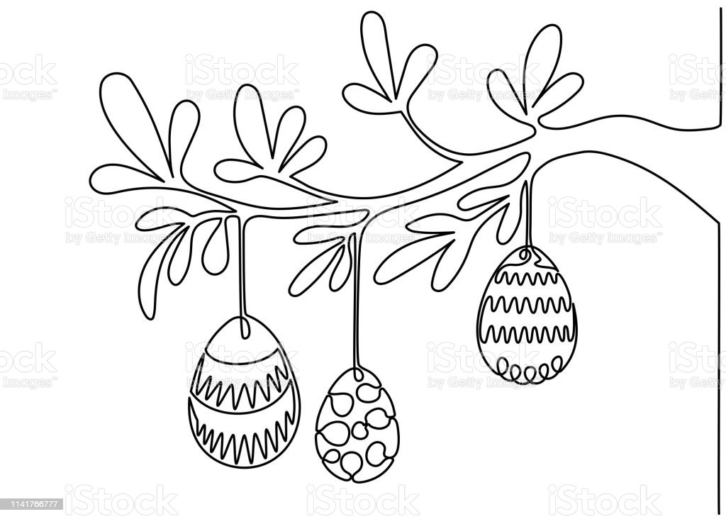 Single line drawing. Continuous one line art. Easter eggs hanged on...