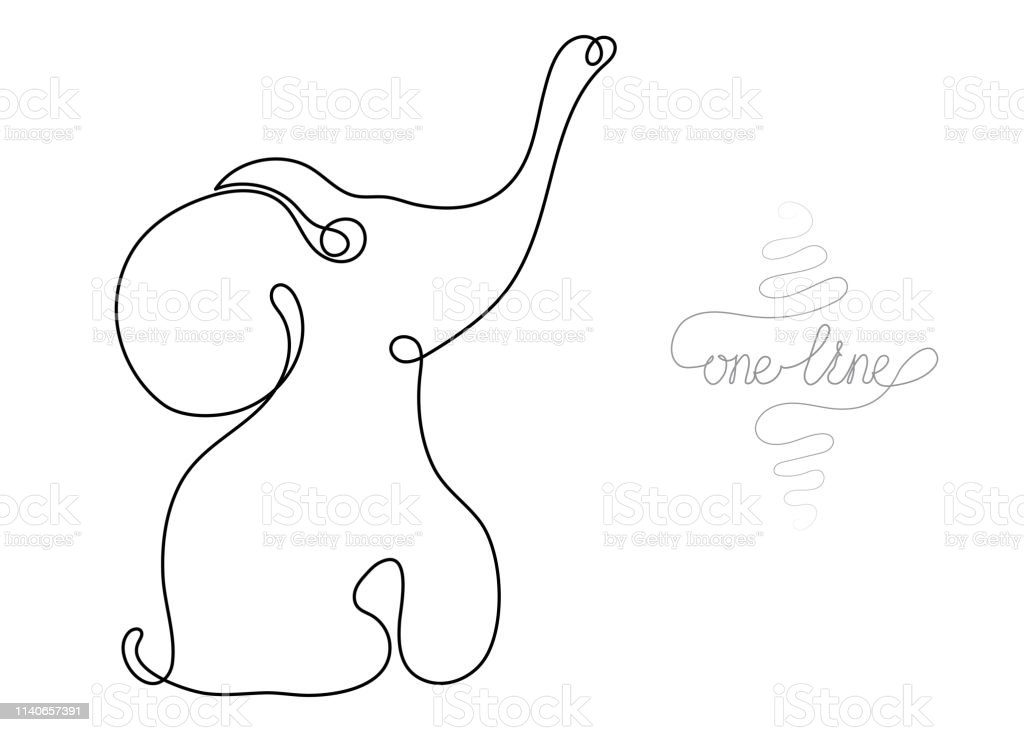 Single line drawing. Continuous one line art. Elephant. Hand drawn...