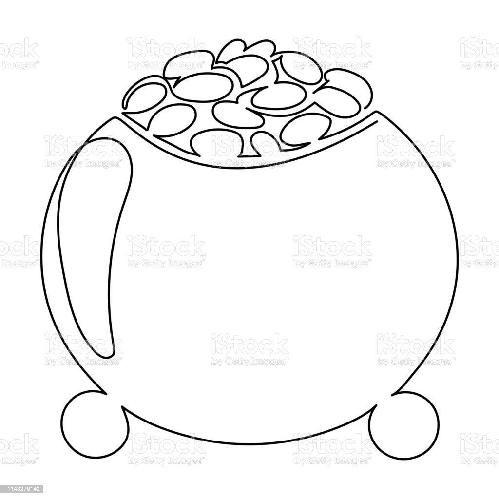 Single line drawing. Continuous one line art. Leprechaun gold pot...