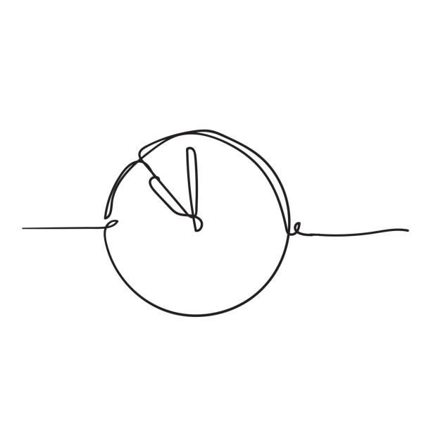 連續一行繪製時鐘圖示,在白色背景上帶有塗鴉手繪樣式 - 一個物體 幅插畫檔、美工圖案、卡通及圖標