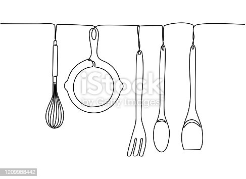 Continuous one line drawing. Fork, spoons, knife plates and all eating and cooking utensils, can be used for restaurant logos, cakes, business cards, banners and others. Black and white vector illustration