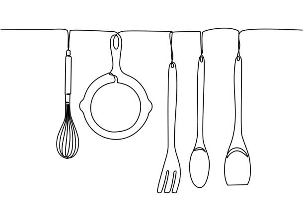 Continuous one line drawing. Fork, spoons, knife plates and all eating and cooking utensils, can be used for restaurant logos, cakes, business cards, banners and others. Black and white vector illustration Continuous one line drawing. Fork, spoons, knife plates and all eating and cooking utensils, can be used for restaurant logos, cakes, business cards, banners and others. Black and white vector illustration cooking drawings stock illustrations