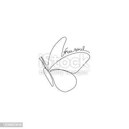 istock Continuous one line drawing of a butterfly with handwritten text Free soul. Minimalist art. 1308862648
