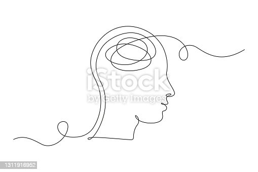 istock Continuous one line drawing of a person with confused feelings worried about bad mental health. Problems, failure and grief concept. Lineart Vector illustration 1311916952