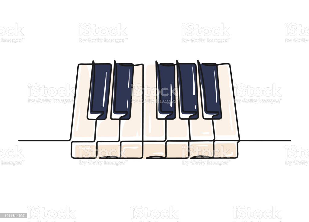 Continuous One Line Drawing Of A Piano Keyboard Stock Illustration Download Image Now Istock