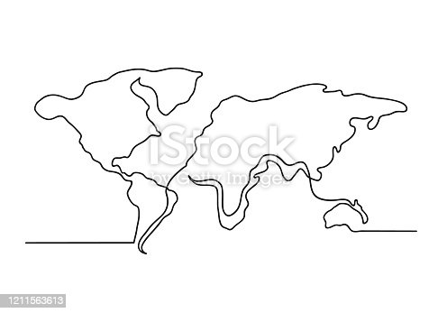 istock Continuous one line drawing of a world map 1211563613