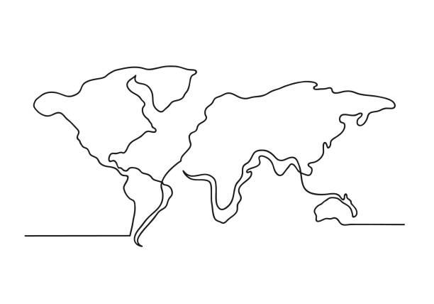 kontinuierliche einzeilende zeichnung einer weltkarte - europa kontinent stock-grafiken, -clipart, -cartoons und -symbole