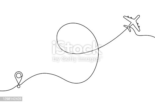 istock Continuous one line drawing of airplane path. One single line air plane route with a start point and and trace. Vector 1298142425