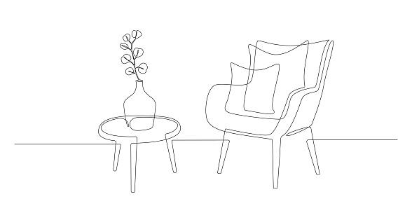 Continuous one line drawing of armchair and table with vase with plant. Scandinavian stylish furniture in simple Linear style. Doodle vector illustration
