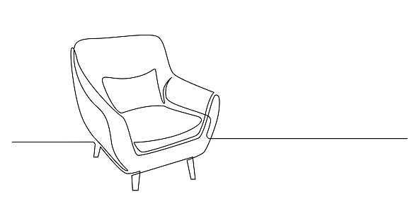 Continuous one line drawing of armchair with pillow. Modern furniture in simple Linear style. Doodle vector illustration